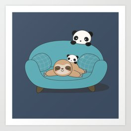 Kawaii Panda and Sloth Art Print
