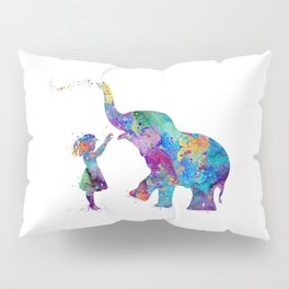 Girl And Elephant Colorful Watercolor Kids Art Pillow Sham