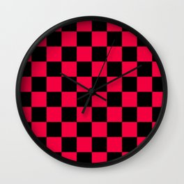 Black and Red Checkerboard Pattern Wall Clock