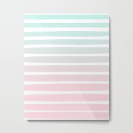 Michel - striped ombre fade trendy beach surfing baby nursery gender neutral art Metal Print