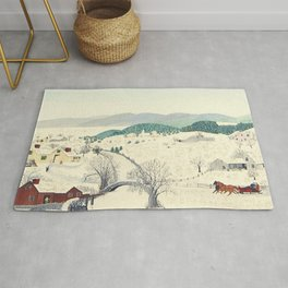 Anna Mary Robertson 'Grandma' Moses To Grandma's House We Go on Thanksgiving Day Folk Art Rug