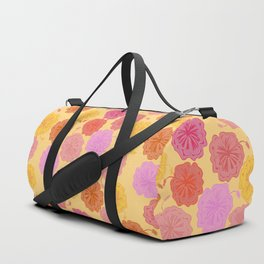 Hibiscus Hawaiian Flowers in Pinks and Corals on Yellow Duffle Bag