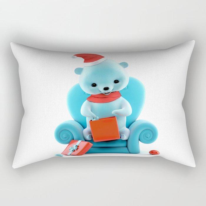 Teddy Bear With Christmas Box on White Rectangular Pillow