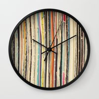 record Wall Clocks featuring Record Collection by Cassia Beck