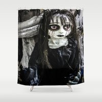 goth Shower Curtains featuring Goth Girl by Nevermind the Camera