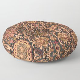 Floral Medallion I // 18th Century Colorful Blue Lime Green Pink Sapphire Plum Burlap Brown Pattern Floor Pillow