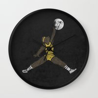 teen wolf Wall Clocks featuring air teen wolf by jerbing