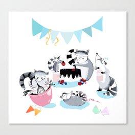 Raccoons make birthday cake Canvas Print