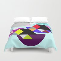 decal Duvet Covers featuring geometric pattern by haroulita
