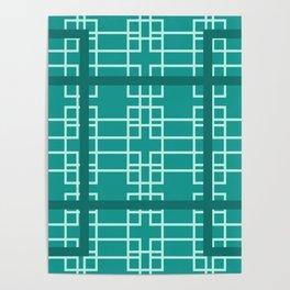 Midcentury Modern Geometric Turquoise Poster