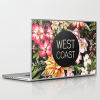 west coast Laptop & iPad Skins featuring West Coast by Text Guy