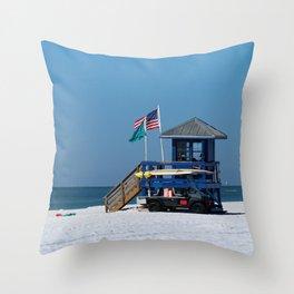 Siesta Key Lifeguard Station Throw Pillow