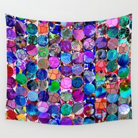 polka dot Wall Tapestries featuring Bright polka dot(4). by Mary Berg