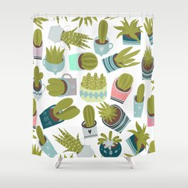 Abstract pink coral green floral cactus plants Shower Curtain
