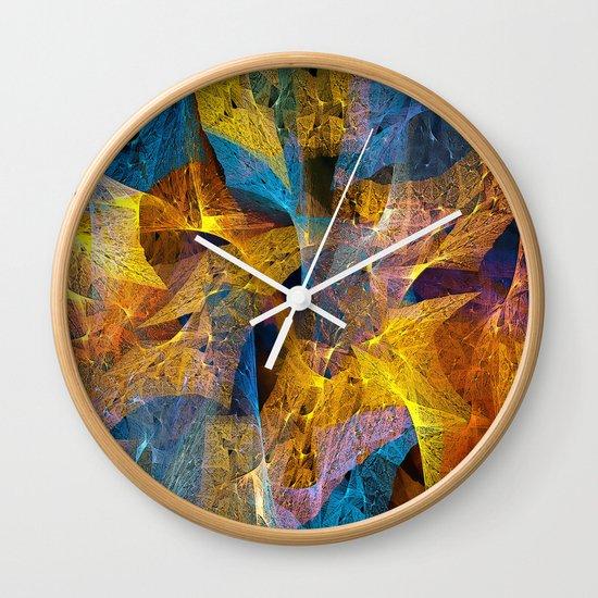 Gold & Blue Abstract Wall Clock