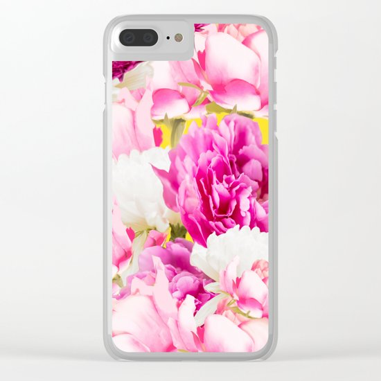 Beauties of nature - large pink flowers on a yellow background Clear iPhone Case