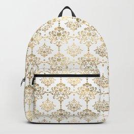 White & Gold Motif Backpack