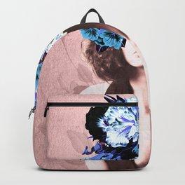 Floral Woman Vintage Blue and Pink Rose Gold Backpack