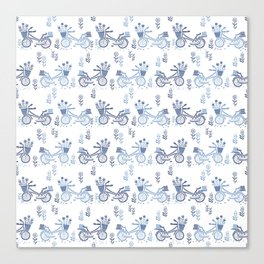 Bicycles spring cute white and navy pattern bike print by andrea lauren Canvas Print