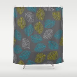Mid Century Modern Falling Leaves Turquoise Chartreuse Gray Shower Curtain