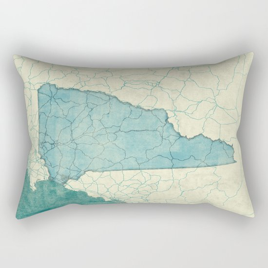 New Hampshire State Map Blue Vintage Rectangular Pillow