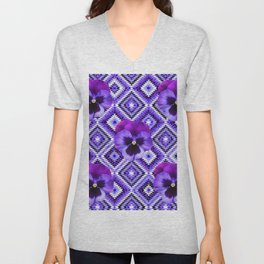 AFGHAN STYLE  PURPLE SPRING PANSIES  PATTERN ART Unisex V-Neck