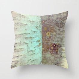 Autumn Birch Tree Abstract Throw Pillow