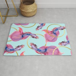 HullaHoops, Eclectic Colorful Fish Graphic Design, Animals Gold Rings Surrealism Quirky Rug