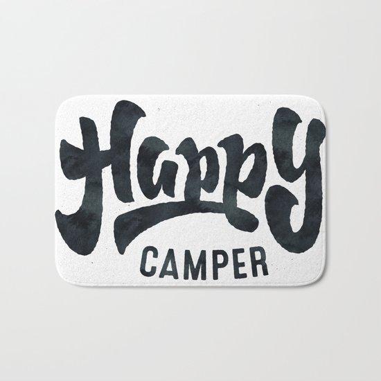 HAPPY CAMPER Black and White Retro Bath Mat
