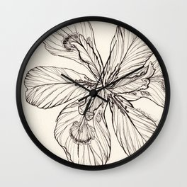Floral Ink Illustration Wall Clock