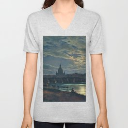 View Of Dresden By Moonlight - Digital Remastered Edition Unisex V-Neck