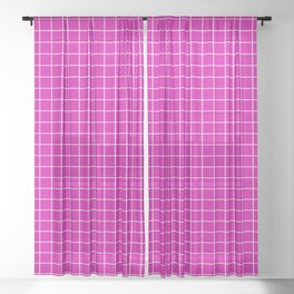 Magenta with White Grid Sheer Curtain
