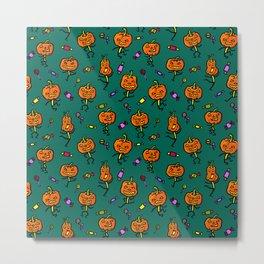 Pattern with dancing pumpkins (on dark green background) Metal Print