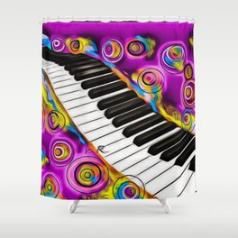 PIANO FLOWS Shower Curtain