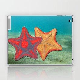 Vintage sketch of sea stars on blue Laptop & iPad Skin