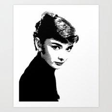 Audrey Hepburn Black and white Art Print