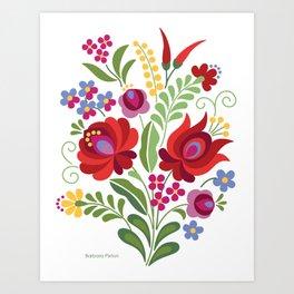 Hungarian Folk Design Red Peppers Art Print