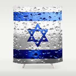 Flag of Israel - Raindrops Shower Curtain