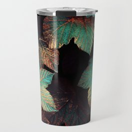 Copper And Teal Leaves Travel Mug