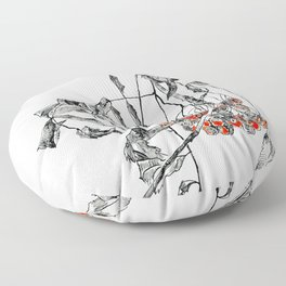 rowan branch with dried leaves and berries Floor Pillow