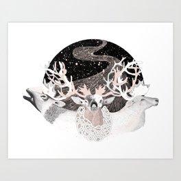 Foliage of Stars: Reindeer Moon Art Print