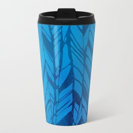 feather texture in blues Travel Mug