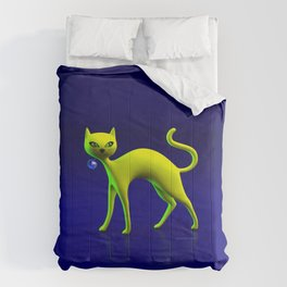 The Yellow Cat And Glass Blue Cherry Comforters