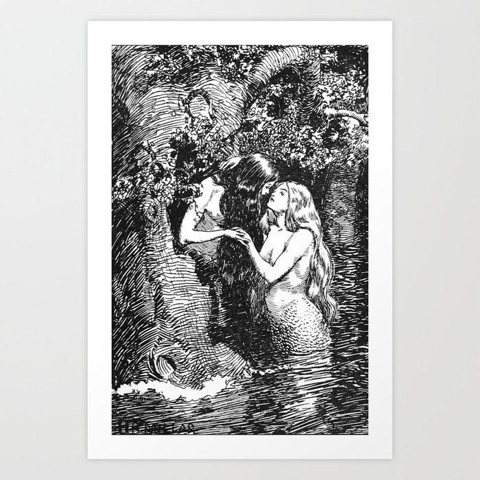 The Nymph Caught the Dryad in Her Arms - HR Millar (1904) Kunstdrucke