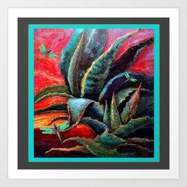 SOUTHWEST DESERT AGAVE & BLUE DRAGONFLIES Art Print