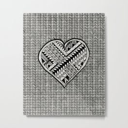 Modern, black and white, geometric shaped heart Metal Print