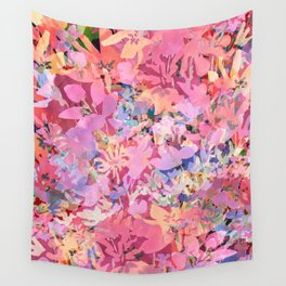 Peach Poppy Garden Wall Tapestry