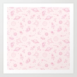 Pink Space Pattern Art Print