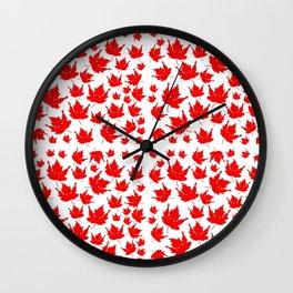 Happy Canada! Enthusiastic Maple Leaf. Wall Clock