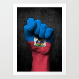 Haitian Flag on a Raised Clenched Fist Art Print